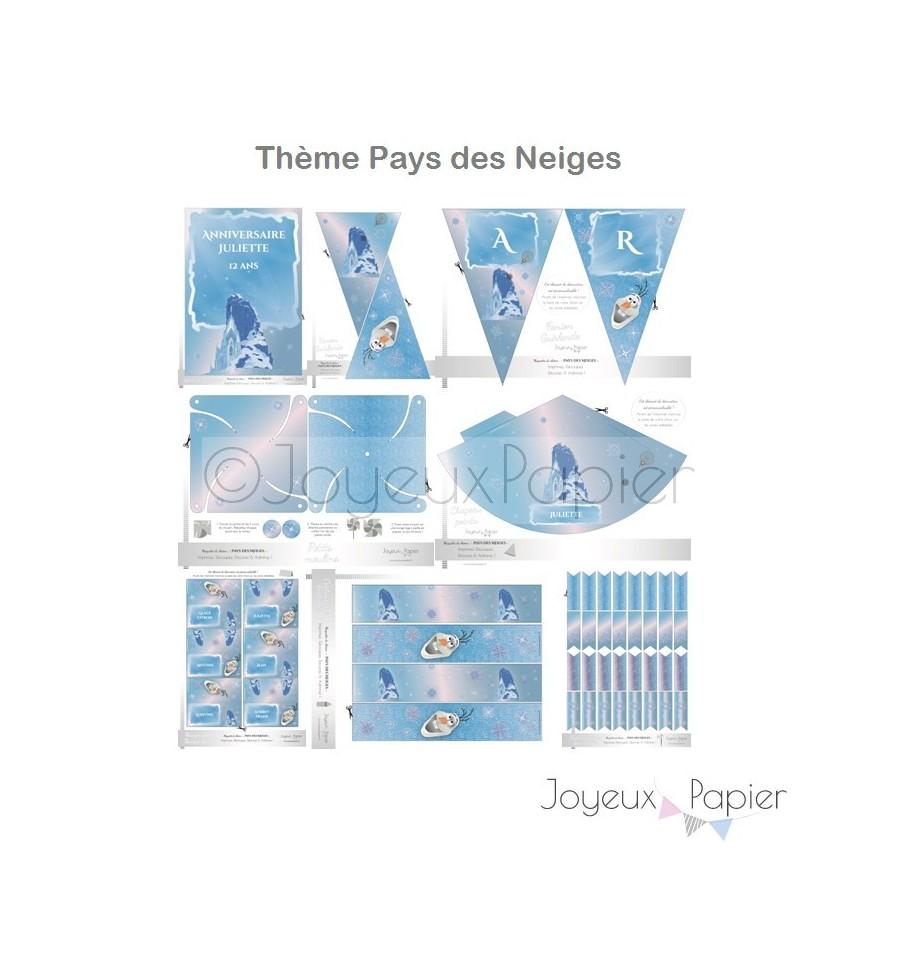 Kit Imprimer Th Me Pays Des Neiges F Te D 39 Anniversaire