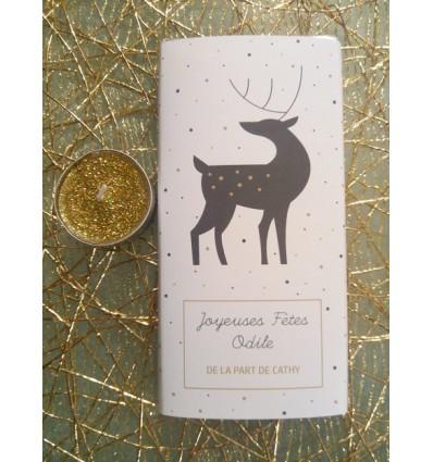 tablette chocolat personnalisée joyeuses fêtes modèle cerf