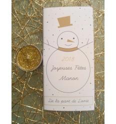 tablette chocolat personnalisée joyeuses fêtes bonhomme de neige