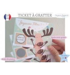 Ticket carte à gratter annoncer une grossesse joyeuses fêtes cerf noël