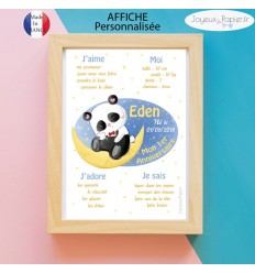 Affiche 1er anniversaire garçon panda lune