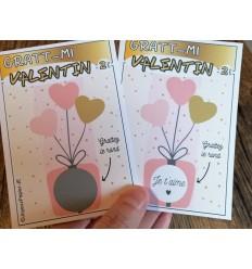 ticket à gratter saint valentin message je t'aime ou votre choix