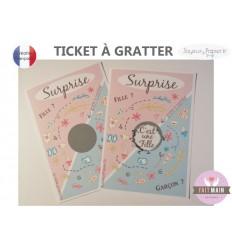 Ticket carte à gratter annonce sexe bébé surprise fille garçon