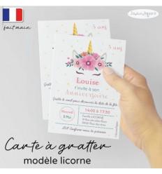 Carte à gratter invitation anniversaire licorne
