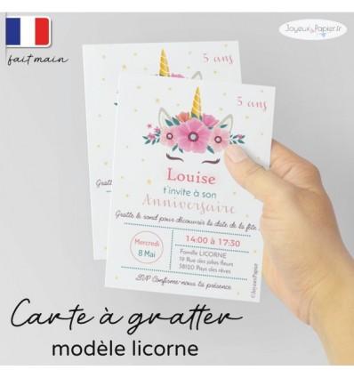 Carte a gratter invitation anniversaire licorne
