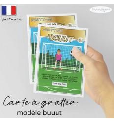 grande carte jeu à gratter personnalisé annonce grossesse modèle but foot