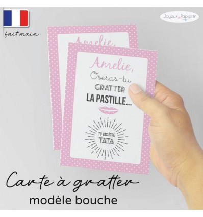 Carte a gratter annonce grossesse bouche