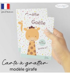 Carte à gratter demande parrain marraine modèle girafe