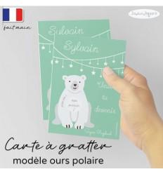 Carte à gratter demande parrain marraine modèle ours polaire