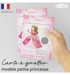 Carte à gratter invitation anniversaire petite princesse