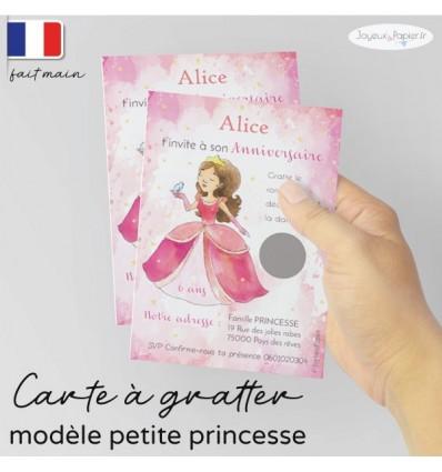 Carte a gratter invitation anniversaire princesse