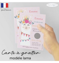 Carte à gratter invitation anniversaire lama