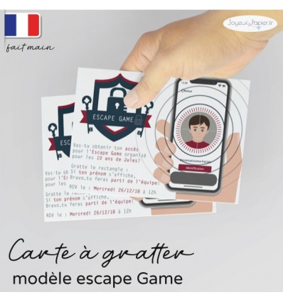 Carte invitation escape game personnalisée