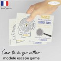 Carte invitation escape game date à gratter