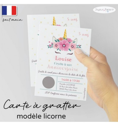 Carte invitation anniversaire licorne
