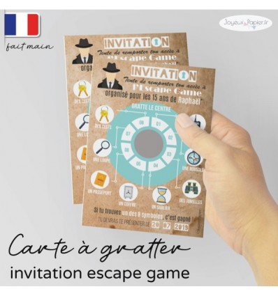 invitation escape game carte à gratter personnalisée