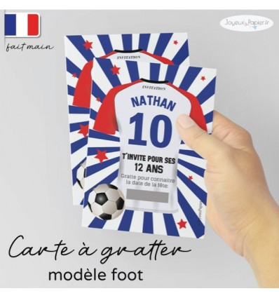 Carte à gratter invitation foot anniversaire