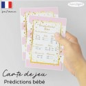 Carte pronostics bébé rose doux pop
