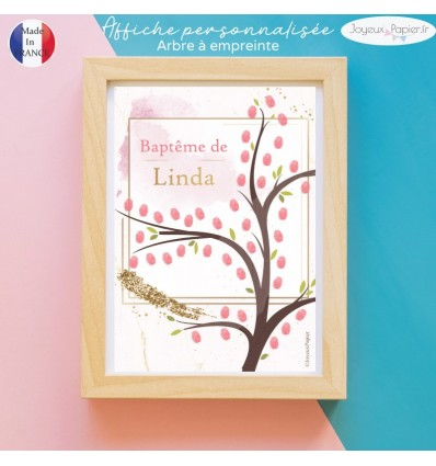 Affiche arbre à empreinte rose glitter