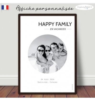 happy family en vacances, Affiche minimaliste personnalisée