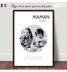 Maman of two Affiche minimaliste personnalisée