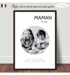 Maman of two Affiche minimaliste personnalisée