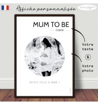 Mum to be, bientôt maman, Affiche minimaliste personnalisée
