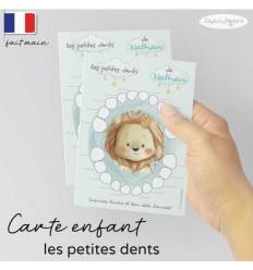 Carte Quenottes les petites dents de bébé personnalisée lion