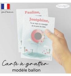 Carte à gratter marraine modèle ballon