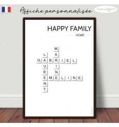 Affiche scrabble famille minimalist