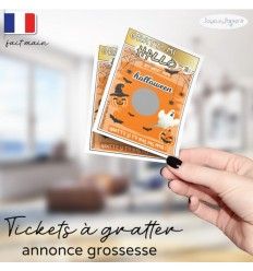 Ticket carte à gratter annonce grossesse halloween