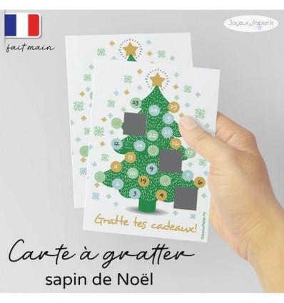 Carte à gratter annonce grossesse Noël modèle sapin