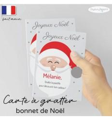 Carte à gratter personnalisé cadeau surprise modèle bonnet père Noël