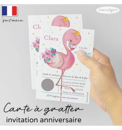 Carte à gratter invitation anniversaire flamant rose