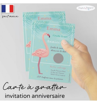 Carte à gratter invitation anniversaire flamant rose V2