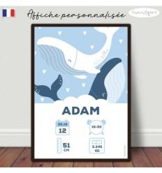 Affiche naissance bébé baleine