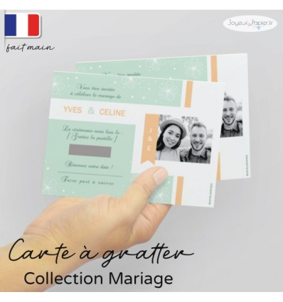 Carte à gratter Save the date mariage photo