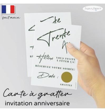Carte invitation anniversaire à gratter minimaliste