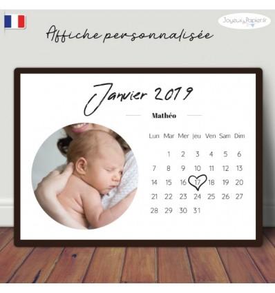 Affiche naissance calendrier minimaliste personnalisée