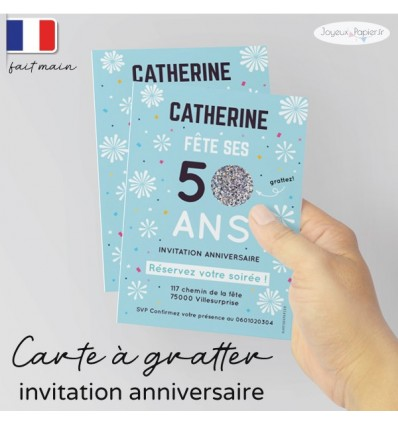 Carte invitation anniversaire à gratter feu artifice