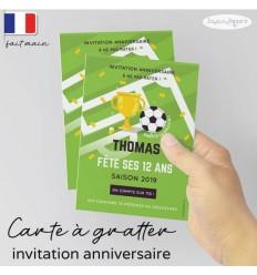 invitation à gratter anniversaire foot champion