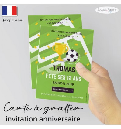 invitation à gratter anniversaire foot champion