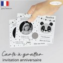 Carte à gratter invitation anniversaire panda