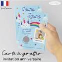 Carte à gratter invitation anniversaire arc en ciel