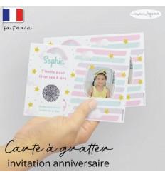 Carte à gratter invitation anniversaire pastel