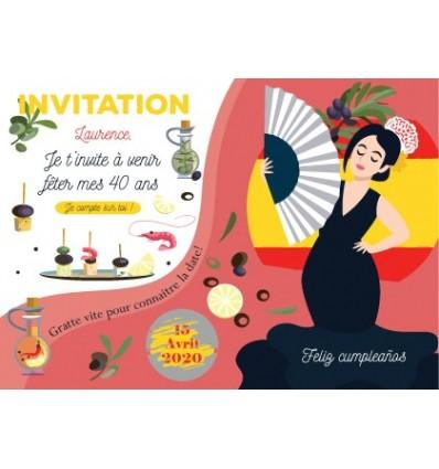 Carte à gratter invitation anniversaire ambiance Espagne