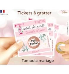 tombola mariage carte à gratter personnalisée