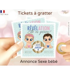 Ticket mini carte à gratter fille ou garçon révélation sexe bébé