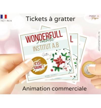 jeu tombola ticket à gratter fin d'année commercial carte personnalisable