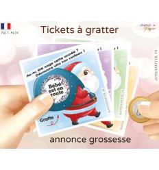Ticket à gratter annonce grossesse père Noël